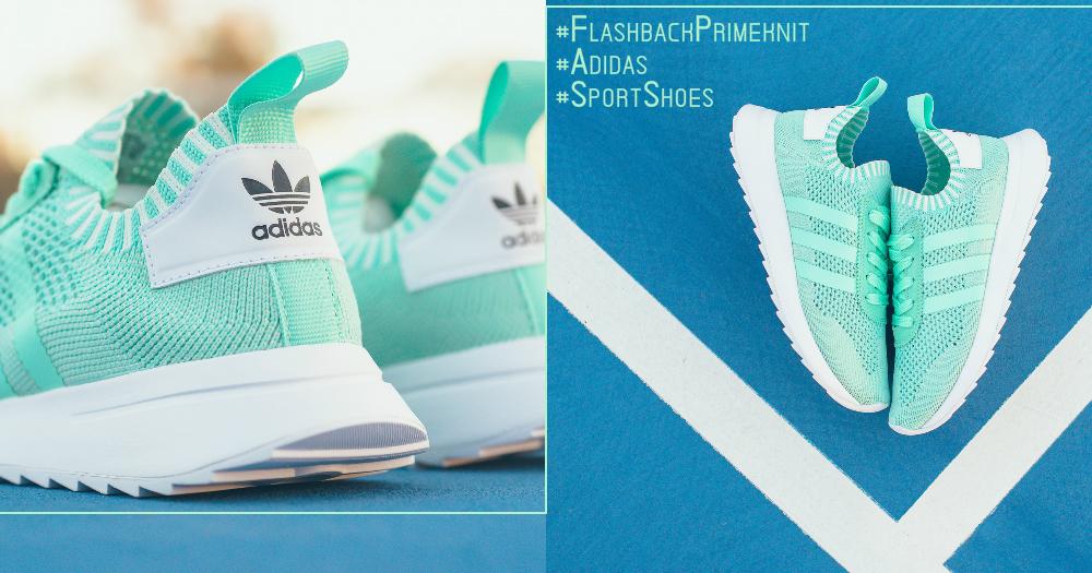 薄荷綠也是少女最愛啊~小清新薄荷綠色『Adidas Flashback Primeknit』,紅包都要被燒光光了!