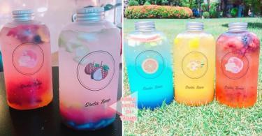 台南打卡必到~每天限量供應60瓶的漸層水果氣泡飲料...充滿盛夏冰涼感