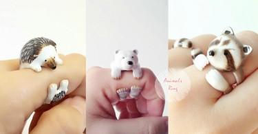 忍不住直呼超可愛!萌到破表的動物三環戒指,正在抱緊你的手指喔~