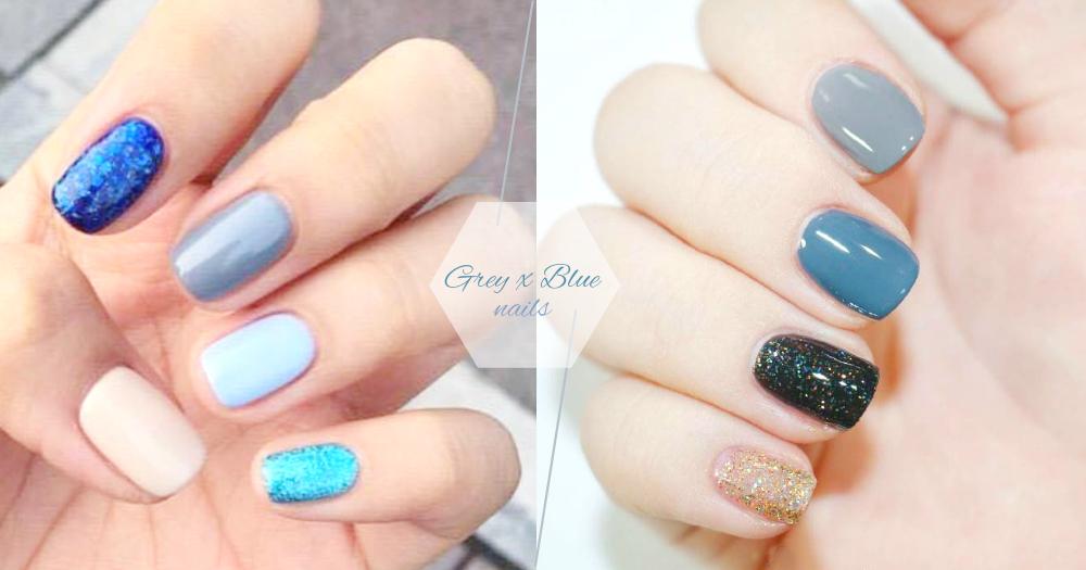 小清新女生必看!30款「灰藍色系美甲」,無論是純色、跳色、閃片都散發著迷人的低調氣質!