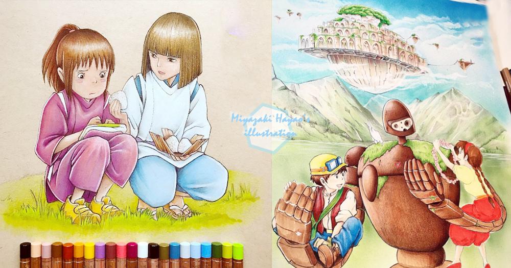 用顏色筆就能完成!英國插畫家畫出宮崎駿經典場景,還把每個角色都描繪得維妙維肖!