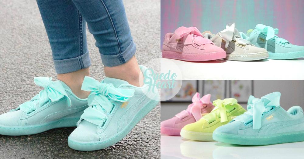 櫻花粉X薄荷綠!Suede Heart推夢幻Pastel色,絕對是仙氣女生的必備球鞋!