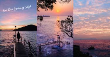 夢幻紫色日落!打卡必去浪漫「西環泳棚」,夕陽、木橋、海邊超有Feel〜