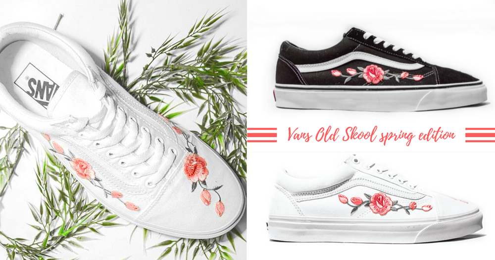 少女心在低調中盛放!經典VANS Old Skool繡上優雅花朵~街頭風格也能展現春日的感覺!